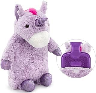 HomeTop Premium Classic Rubber Hot Water Bottle with Cute Unicorn Cover (1L, Purple)