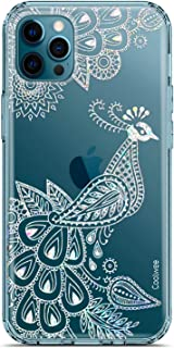 Coolwee Clear Glitter Compatible with iPhone 12 Pro Max Case Thin Flower Cute Crystal Peacock Bling Women Girls Floral Pla...