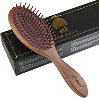 BFWood Wooden Paddle Hair Brush � Black Walnut Hairbrush for Massaging Scalp