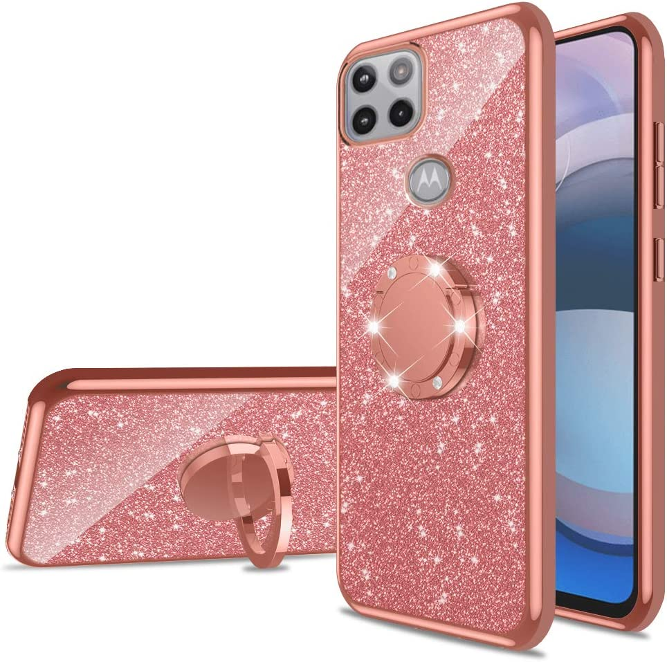 nancheng for Motorola Moto One 5G Ace Case, Glitter Luxury Sparkles TPU Silicone Slim Cute for Girls Women with Kickstand, Bling Diamond Ring Stand Case for Moto One 5G Ace 2020 (6.7
