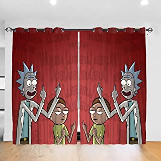 HOHOHAHE Funny Rick Morty Cartoon Blackout Curtain Drapes Top Insulation Compartment Blackout Curtains for Windows Bedroom Living Room 52W X 84L Inches Symmetrical 2 Panels