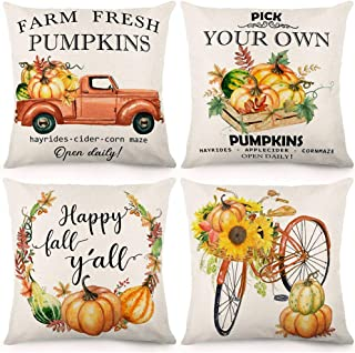CDWERD Fall Throw Pillow Covers Farm Fresh Pumpkins 18x18 Inches Fall Decorations Autumn Theme Thanksgiving Farmhouse Pillowcase Cotton Linen Cushion Case for Home Décor Set of 4