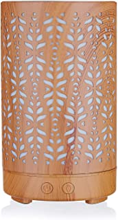 Wood Grain Aromatherapy Essential Oil Diffuser,Humidifier,Ultrasonic Quiet,Cool Mist,Adjustable Time Setting,Color Light Changing,Waterless Auto Off,for Baby,Home,Office,Yoga,Birthday,Gift,Decorative