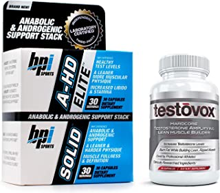 A-HD Elite & Solid with Testovox - Most Advanced Testosterone Boosting, Muscle Building Bundle for Men | Jump Start Your Libido, Stamina & Sexual Performance | Burn Fat & Boost Metabolism