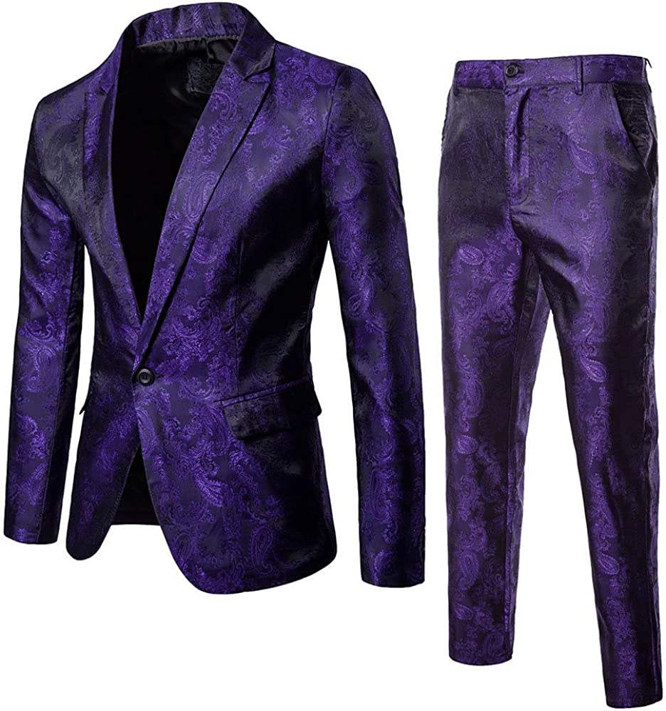 Mens Suit Slim Fit 3 Piece Suit Business Wedding Party Jacket Vest & Pants