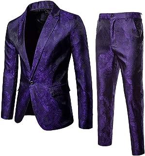 SFE 2-Piece Suit Blazer Jacket for Men's Single Button Suit Coat & Pants Tuxedo Wedding Party Banquet Prom