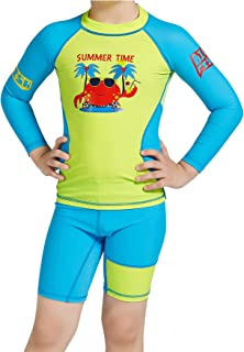 مجموعة Connecting Kids Boys Swimsuits Upf50+ Uv Set Rush Guard Crab Pattern 2-7 سنوات