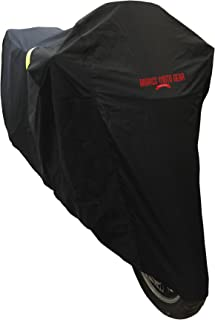 Ultimate Waterproof Motorcycle Cover - Outdoor Storage Motorcycle Covers for Harleys - Street or Sport Bike. Taped Seams, Windshield Liner, Heat Shield, Vents, Reflective, Grommets, Alarm Pockets, M
