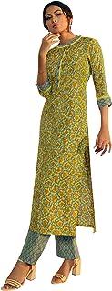 ladyline Rayon Ethnic Printed Kurta with Pants Set Indian Kurti Tunic for Womens
