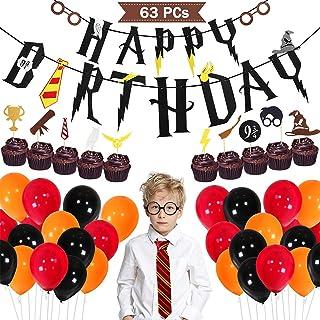 Tacobear Zauberer Geburtstag Party Deko Inklusive Krawatte Brillengestell Cupcake Topper Picks Balloon Banner für Geburtstagsdeko Themenparty 63pcs für Kinder Jungen Mädchen