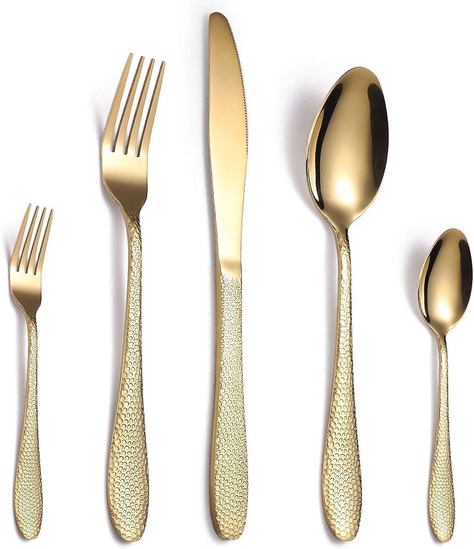 4 piezas de conjunto de cubiertos plateados de titanio espejo pulido portátil de acero inoxidable cubiertos de cubiertos de cubiertos para el hogar/oficina/fiest gold
