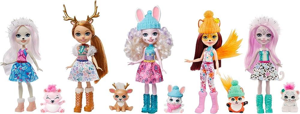 Enchantimals bambole amiche delle nevi, set con 5 personaggi GXB20