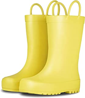 LONECONE Elementary Collection Rain Boots with Easy-On Handles for Toddlers and Kids