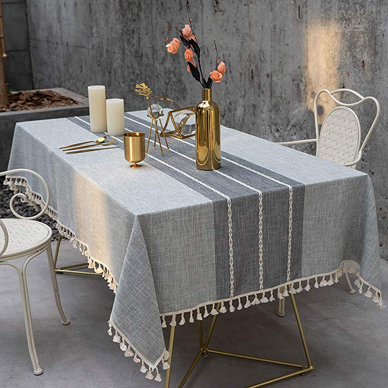 TEWENE Tablecloth Rectangle Table Cloth Cotton Linen Wrinkle Free Anti Fading Tablecloths Washable Embroidery Table Cover For Kitchen Dinning Party Rectangle Oblong 55 X86 6 8 Seats Gray