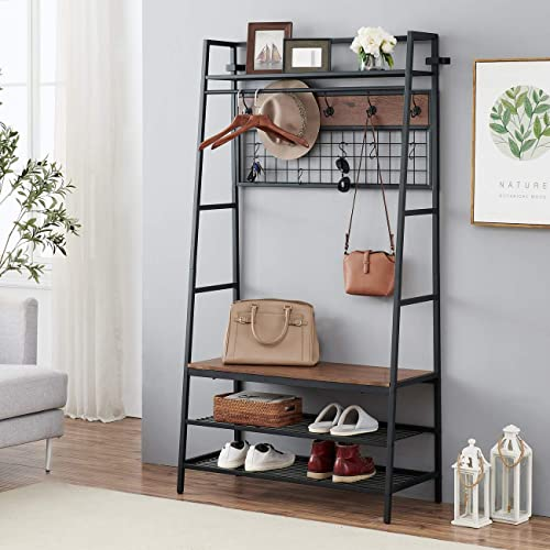 discount O&K FURNITURE 5-In-1 Hall Tree with popular Storage Bench, Entryway Storage Organizer, 3-Tier Coat Rack Shoe Bench with 11 Hooks and Hanging high quality Rod, Brown Finish sale