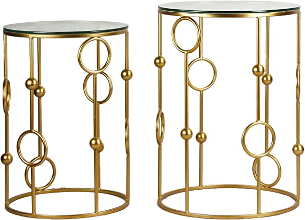 Adeco FT0063 Neting Accent Decrorative Glass Top Side End Set Of 2 Round Nesting Tables Gold
