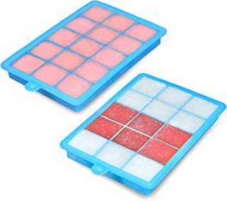 Ice Cube Trays,BomStar 2-Pack Silicone Ice Cube Molds with Lid Food Grade Silica Gel Flexible and BPA Free with Spill-Resi...