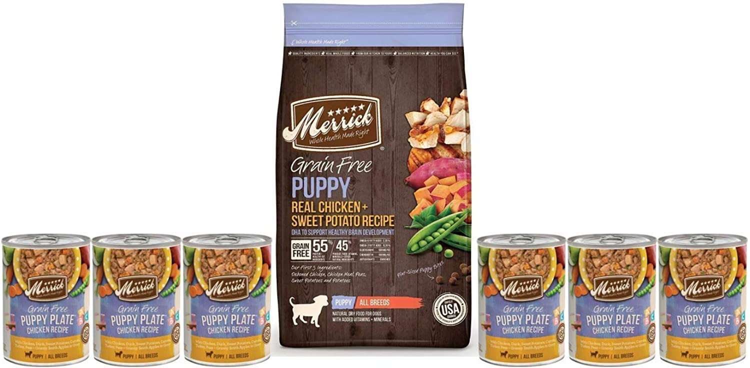 Merrick Puppy Food Grain Free4Lb Bag Plus 6 Cans of Puppy Plates and 1 Can Topper 2 Fresh Kisses