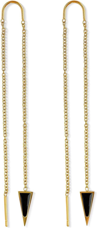 Dagger Threader Earrings for Women | 14k Gold Dangle Earrings for Women | Dagger Drop Earrings for Women | Long Chain Earrings for Women | Nickel Free Hypoallergenic Thread Earrings, Triangle Earrings