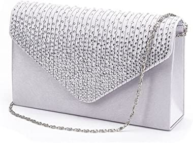 Damen Clutches Große Abend Satin Diamond Dinner Umhängetasche Clutch Bag Party Umschlag Tasche