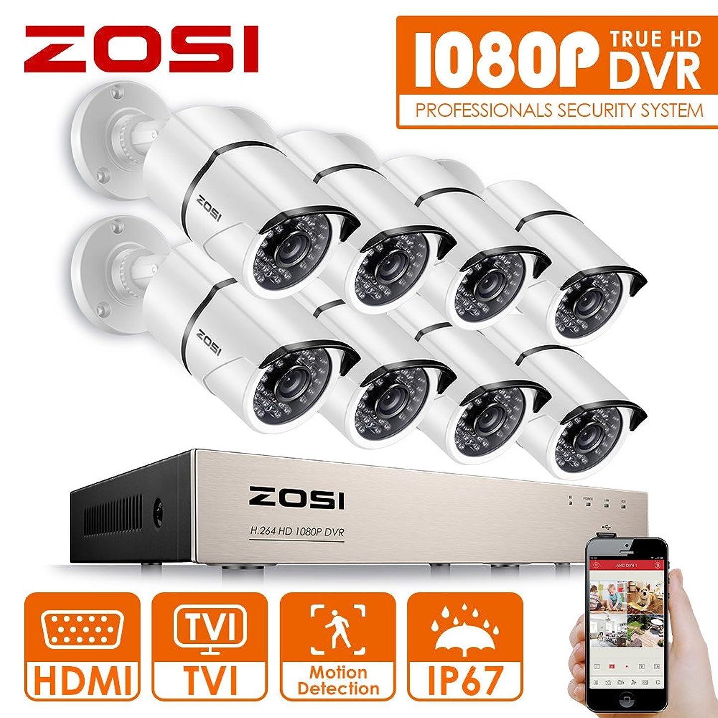 シチリア想像力付き添い人ZOSI 230万画素防犯カメラセット フルハイビジョン 230万画素 防犯カメラ8台 +ミニ 8ch AHDデジタルレコーダー ネットワーク機能 パソコンやスマホ遠隔監視対応 日本語対応 HDD2TB付き付き