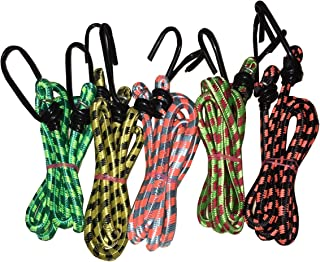 Glamio High Strength Elastic Nylon and Polyester Bungee/Shock Cord Cables, Luggage Tying Rope with Hooks (Multicolour) - Set of 5