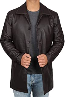 Blingsoul Genuine Black Leather Car Coat - 100% Real Brown Leather Coats for Men