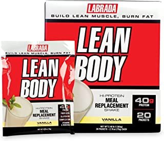 Labrada Lean Body Meal Replacement Powder, Vanilla Ice Cream, 2.78 Ounce, 20 Count