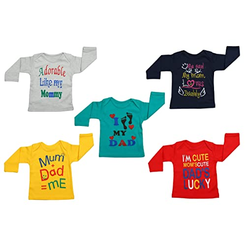 39093453c Fareto® Baby Mom & Dad Quotes Combo of 5 Full Sleeves Printed T-Shirts