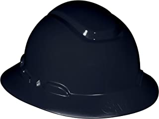 3M Full Brim Hard Hat H-812R-UV, Black, 4-Point Ratchet Suspension with Uvicator