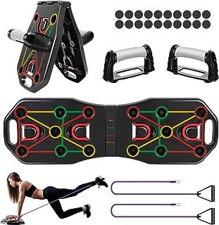 Fostoy Push Up Board, 9 in 1 Pieghevole Push Up Rack Board Multifunzionale con Fasce di Resistenza e Maniglie per Uomo Don...