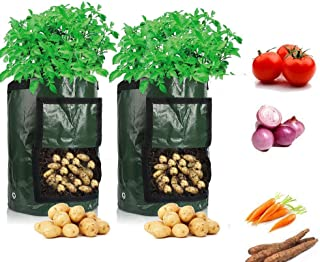 Cefrank Potato Grow Bags, 2-Pack Growing Bag with Flap & Handles - Planter Bags Planting Pouch for Carrot Onion Vegetables