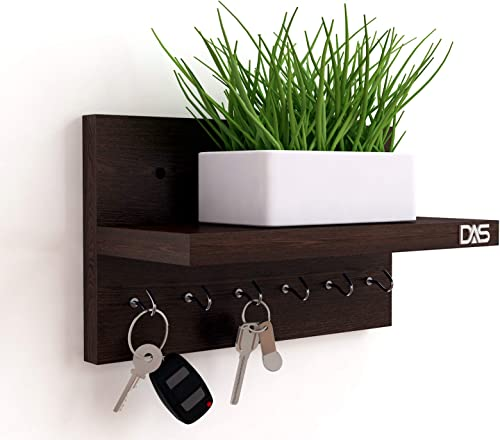 HOMACE by DAS Wall Mounted Home Decor Key Chain Holder Organizer with Wall Shelf Display Rack 6 Hooks Mabel Wenge Hook