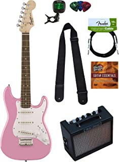 Squier by Fender Mini Strat Electric Guitar - Pink Bundle with Amplifier, Instrument Cable, Tuner, Strap, Picks, Austin Bazaar Instructional DVD, and Polishing Cloth