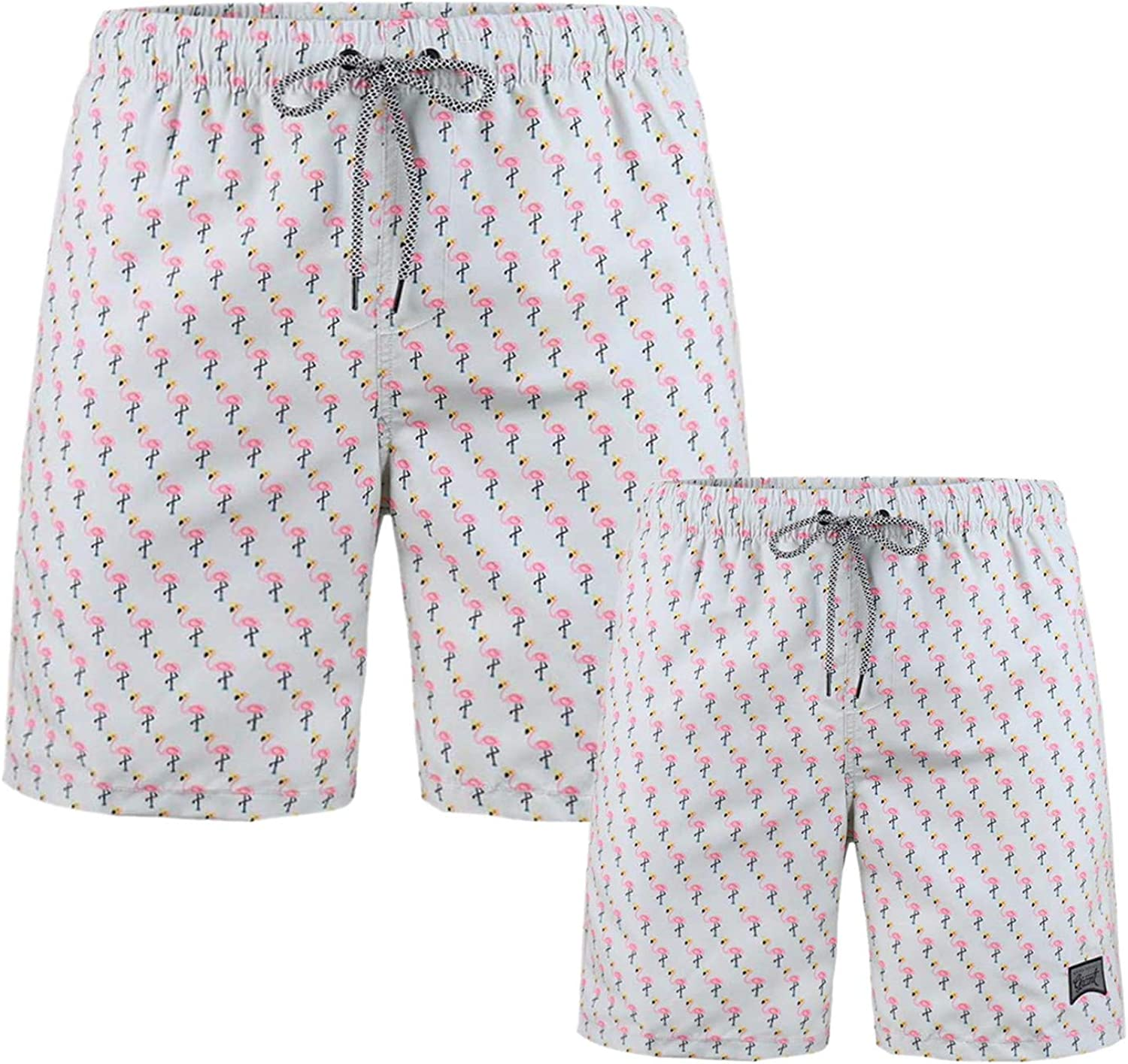 Father and BoysSwim Trunk Mesh Lined Summer Smooth Vacation Board Shorts