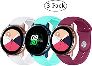Fit Samsung Galaxy Watch (42mm)/ Galaxy Watch Active (40mm) Bands, 3Pack 20mm Quick Release Stylish Sport Silicone Bands Straps Wristbands Bracelet Watch Band for 42mm Galaxy Watch (White Green Red)