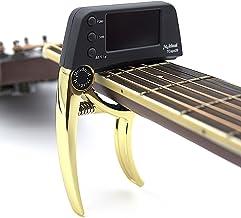 Profesional Guitarra Cejilla Sintonizador, loftstyle clip-on afinador cromático con rotación doble color protector de luz pantalla LCD con una sola mano Guitar Capo Metal Negro