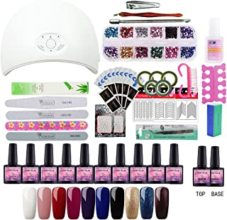 Coscelia 36W LED USB Nail Dryer 10pcs Nail Polish Start Set UV Gel Mix Color Polish Base Top Nail Manicure Tools Design Set