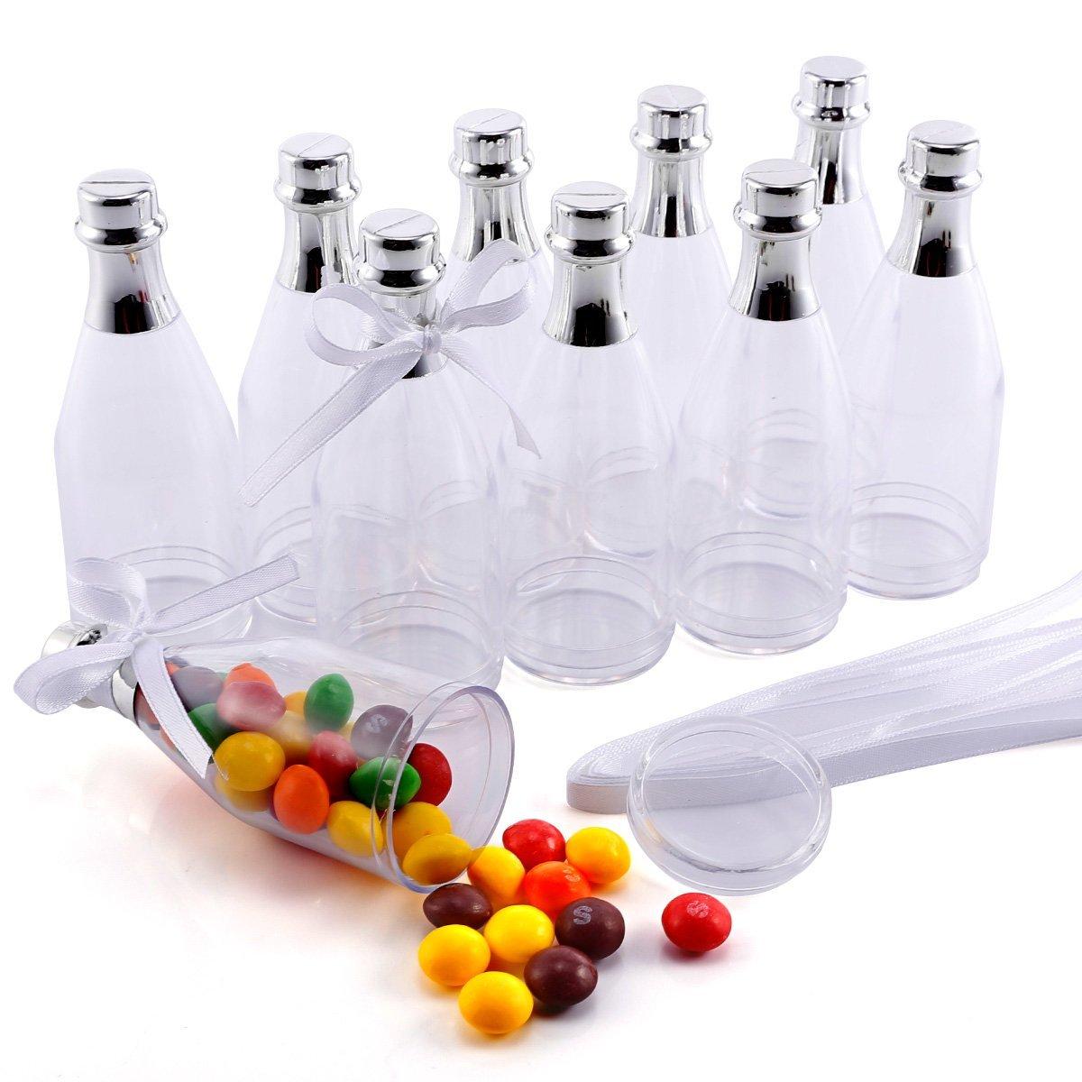 CLE DE TOUS - 10 mini Botellas de plástico de Regalo Cajas para Dulces Bombones para Boda Cumpleaños Bautizo Baby Shower Graduación Navidad: Amazon.es: Hogar