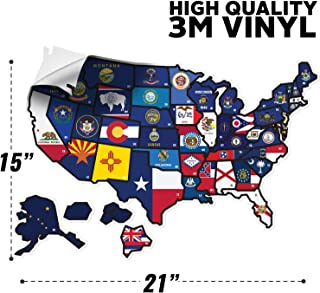 WANDER CAMP State Flag Travel Map Decal Sticker 21 x 15 Inches for Motor Home RV Trailer Vehicle - Vinyl Sticker Decal for Laptops - Refrigerators - Wall - UV Protection Guards Against Fading