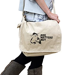 Yoda Size Matters Not Star Wars Inspired 14 oz. Authentic Pigment-Dyed Raw-Edge Messenger Bag Tote Beige
