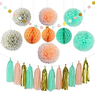 Party Decoration Kit (22 Pieces) - Coral, Mint Green & Gold - Tissue Paper Decor w/ Pom Poms, Balls, Tassels, Garland - Birthday Parties, Bridal Showers, Baby Showers, Bridal, Wedding
