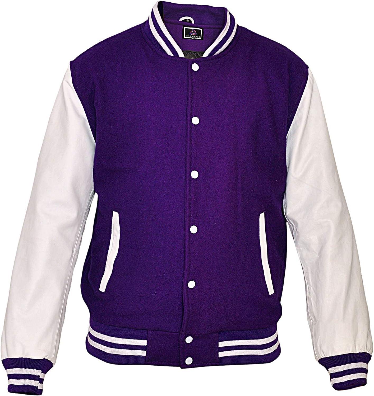AMETHYST Baseball Varsity College Letterman Jacket, White Leather Sleeves & Wool Body