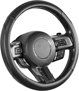 SEG Direct Car Steering Wheel Cover for All Standard-Size Steering Wheels with 14 1/2 inches - 15 inches Outer Diameter, Black Microfiber Leather
