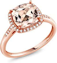Gem Stone King 10K Rose Gold Ring Peach Morganite and Diamond Accent Women's engagement Ring 1.88 Ct Cushion cut (Available 5,6,7,8,9)