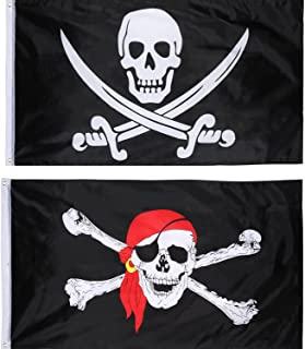Hestya 2 Pieces Jolly Roger Pirate Flag Skull Flag Pirate Party, Birthday Gift, Pirate Day, Halloween Decoration, 3 5 Feet
