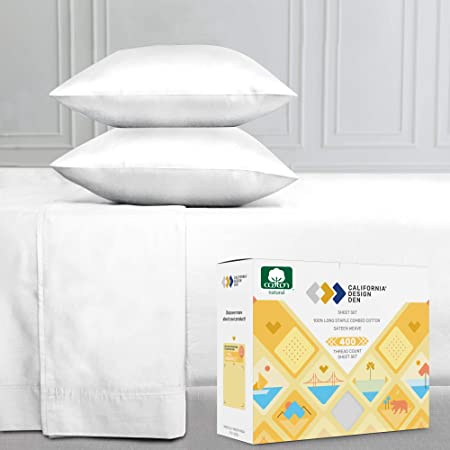 400-Thread-Count Full Size Bed Sheets on Amazon, Pure White - 4 Piece Set Long-Staple Combed Pure Natural 100% Cotton Sheets - Soft & Silky Sateen Weave Bedding Set