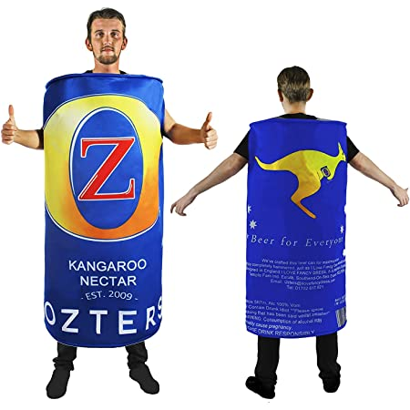 BEER CAN COSTUME ADULTS NOVELTY FESTIVAL FANCY DRESS OZTERS AUSTRALIA DAY STAG