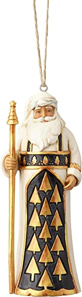 Enesco Jim Shore Heartwood Creek Black And Gold Santa Ornament