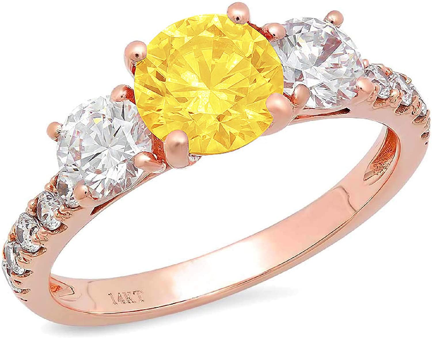 1.94ct Brilliant Round Cut Solitaire 3 stone With Accent Canary Yellow Ideal VVS1 Simulated Diamond CZ Engagement Promise Statement Anniversary Bridal Wedding Ring 14k Rose Gold